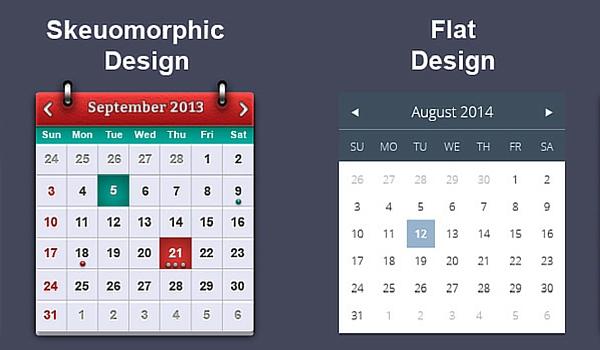 Skeuomorphic design vs Flat design